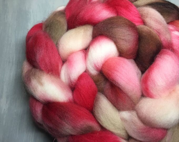 Choco Cherry Crush - Hand Dyed Corriedale Wool Top Spinning Fiber