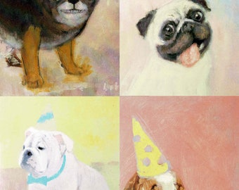 Party Animals! Set of 4 Greeting Cards