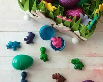 8 Dinosaur filled Easter eggs, dinosaur crayons, Easter egg hunt, glitter eggs,  Easter candy alternative for Easter basket
