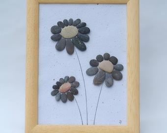 Pebble art, flowers decor, pebbles art, framed picture