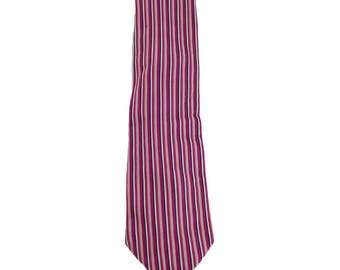 Etro Milano vintage silk tie ribbed purple and white made in italy 1980s