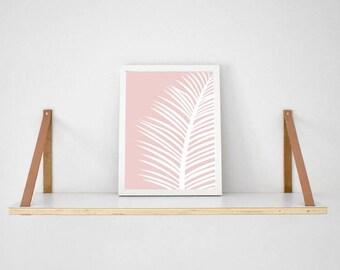 White tropical palm Leaf on blush pink background print scandi poster monochrome typography millennial pink