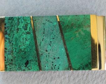 Arizona Malachite Money Clip Gemstone Inlay Spring Steel