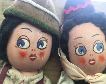Handmade wooden dolls, folk dolls, folk dress (vintage)
