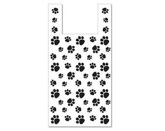 100 Lg Plastic Bags, T Shirt, Gift Bags, Merchandise, Crafts, Party Favors, Showers, Plastic Bag, Paw Print, Pet Gifts,