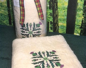 Scottish Thistle Embroidered Towels, Thistle Facecloths, Hand Towels, Bath Towels, Sparkling Scottish Thistles