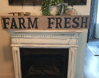 Farm fresh sign / 4 ft / distressed /farmhouse decor / white and black sign / wood sign