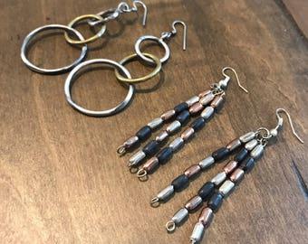 Vintage 80s Style Dangly Metal Earrings Beaded Fashion Earrings Dangly Earrings 1980 Era