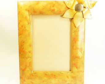 "Frame ""Orange shade"", 13 X 18 cm, made by hand"
