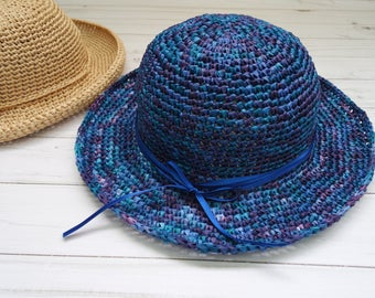 Blue Women Hats Summer Hat Women Sun Hat Crochet Hat Beach Hat Ladies hat Wide brim hat women gift for her Beach accessories Travel gifts
