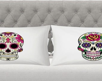 candy skull pillowcases day of the dead his and hers Christmas gift idea ( 2 PIECE )