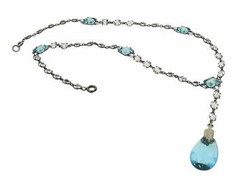 1910s Blue Glass Teardrop Pendant Vintage Necklace