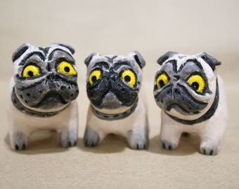 "Ceramic figurine ""Pug"". Ceramic miniature sculpture. Ceramic dog. Breed Pug. New Year's Gift. little dogs"