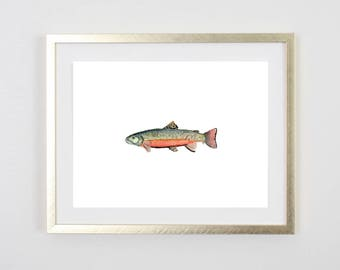Trout Print / Fish Print / Rainbow / Painting / Father's Day fishing Birthday Gift for him / Decor / Gift for Dad / baby boy nursery / 5x7