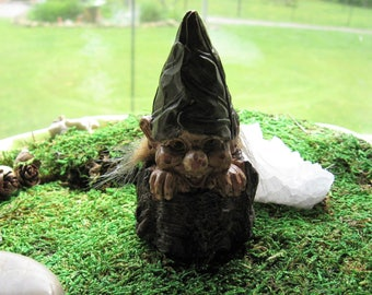 Miniature Fairy Garden Troll  in Tree Stump Made in Resin