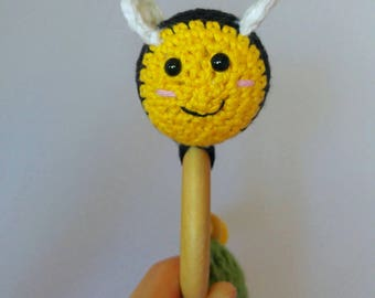 Ready to ship Crochet organic wood teething ring and rattle, bee teething toy