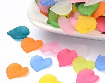 25 pc Mixed Color Frosted Leaf Acrylic Beads/Charms 16x15x2mm