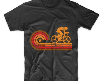 Retro Style Cyclist Silhouette Cycling T-Shirt