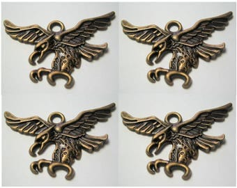 LAST LOT Eagle Finding Charm Pendant Bronze / Antiqued Brass Color