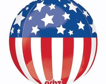 "Patriotic Orbz Balloon 16"", American Flag  Round Balloon 16"", USA Balloon, Sphere Shaped Balloons"