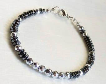 Hematite bracelet Silver and black hematite bracelet  Beaded bracelets