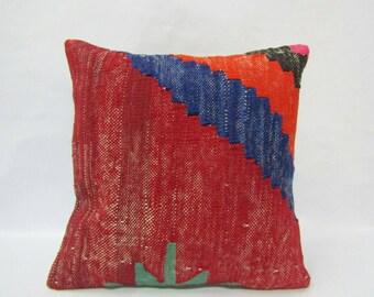 Turkish Kilim Pillow Cover,16x16 inches,40x40cm,Anatolian boho Kilim Pillow Cover