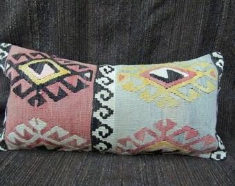 Turkish Kilim Pillow Cover,12x24 inches,30x60cm,Boho Turkish Kilim Pillow Cover