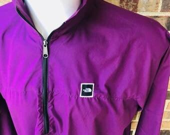 The north face vintage purple box logo windbreaker snow beach mountain jacket classic steep tech columbia tnf 90s party  nyc la ohio  1990s