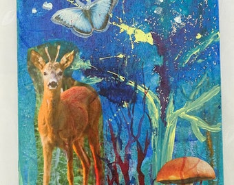 Forest Painting, Mixed Media Collage Art, Deer, Multimedia Mix Painting on Canvas, Magical Forest, Woods, Vintage Art, Home Decor
