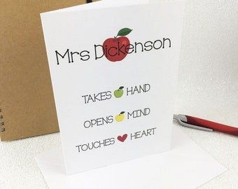 Personalised Teacher Card - Takes Hand, Opens Mind and Touches Heart