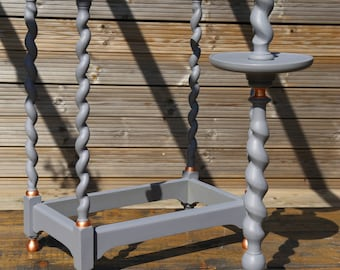 Upcycled umbrella stand & matching jardiniere in grey with copper-leaf detailing (set of two)