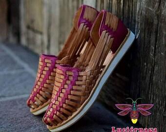 Tennis shoes sole leather sandals. Women's leather sandals. Mexican huarache sandals.