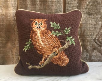 Vintage Owl Needlepoint Throw Pillow // Handmade Owl Pillow // 1970's