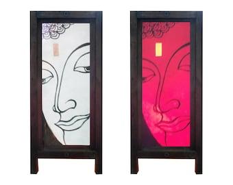 Mulberry Saa Paper Thai Table Lamp Ayutthaya Buddha White or Red