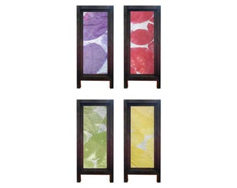 Mulberry Saa Paper Thai Table Lamp with Integrated Leaf in 4 Colours