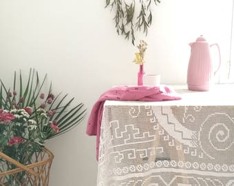Old lace Tablecloth, topbed, curtain