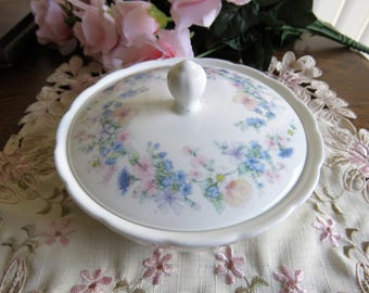 Vintage Wedgwood bone china lidded bowl in the Angela pattern