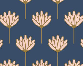 Blush Floret Sunkissed by Dana Willard,Art Gallery Fabrics,Cotton Fabric,Floral,Navy,Pink