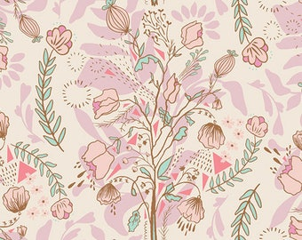 """Lambkin Collection """"Pretty Twiggy"""" by Bonnie Christine-Art Gallery Fabric-Froral, Pink"""