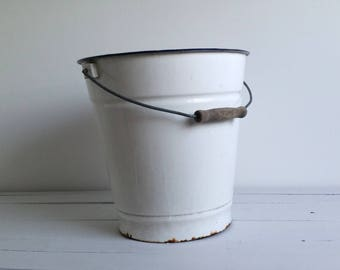 Old farmers white enamelware bucket