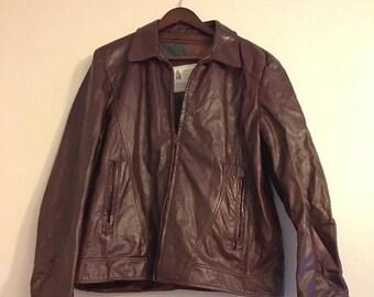 ON SALE Vintage Men's London Fog Brown Oxblood Leather Motorcycle Bomber Jacket Coat Size 42 Regular