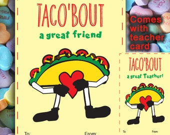 Valentines | Taco'bout | Valentine Fun, Taco card | Taco Valentine | School Valentine, Valentine's Day Favor, Teacher Gift | Printable