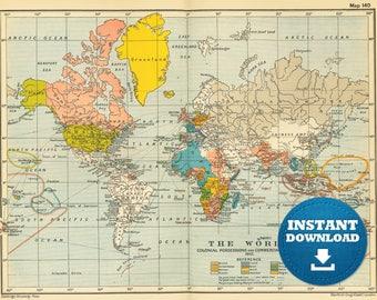 Digital old world map hight printable download Vintage