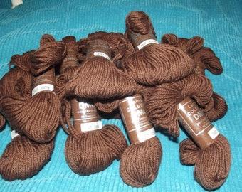Lot of 16 Brown 20 gm skeins DMC Laine Colbert Tapestry Yarn 100% virgin wool Color #7467 Lot: 43075