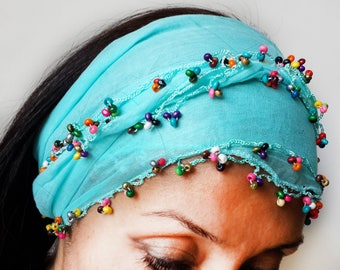 Beaded Scarf Turquoise, blue scarf, spring scarf cotton,boho scarf, gypsy headband, gift for her
