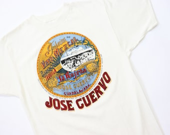 70s Jose Cuervo Tequila Graphic Advertising Tee 1970s Thin T-Shirt Cotton Mens Top Medium