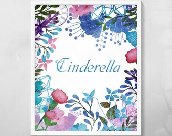 Cinderella Floral Print, Instant Digital Downloads, 8x10 inches, Printable Wall Art