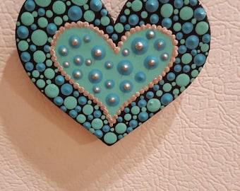 Acrylic painted, painted wood, wood magnets, handmade,fridge magnets, wood hearts