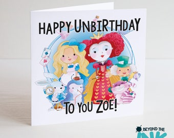 Alice In Wonderland Birthday Card - Personalised Alice In Wonderland Birthday Card - Happy Unbirthday