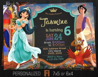 Jasmine Invitation, Jasmine Birthday Party, Aladdin, Princess Jasmine, Disney Princess, Arabic, Personalized, Printable, Digital File